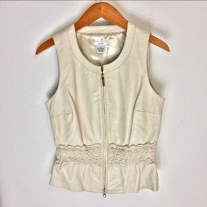 Cache cream soft leather vest blouse size 6 jacket